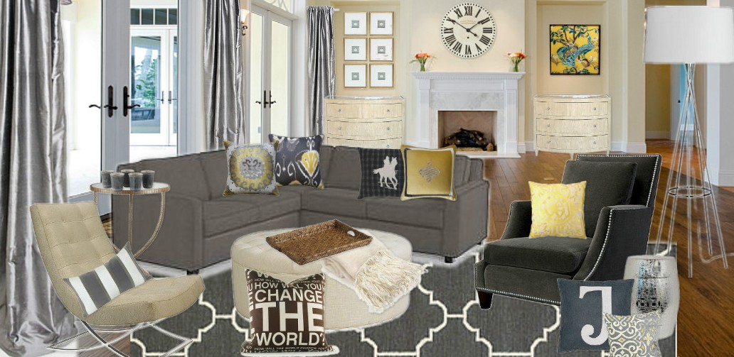 Gray And Yellow Living Room Interior Design
