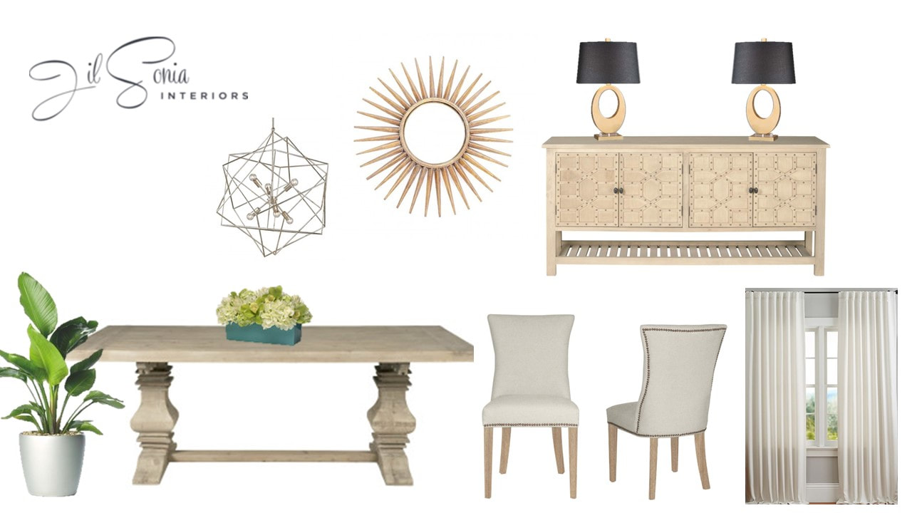 Interior design dining room mood board Jil Sonia Interiors