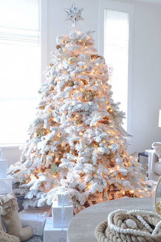 How to decorate your white flocked Christmas tree